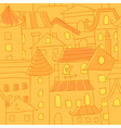 Retro style hand drawn city houses seamless vector