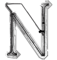 Technical typography letter n vector