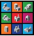 Icons with factories and plants vector