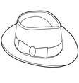 Vintage hat outline vector