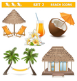 Beach icons set 2 vector