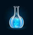 Transparent flask with magic blue liquid on black vector
