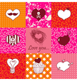 Stylish set of nine hand drawn hearts vector