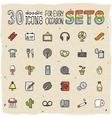 30 colorful doodle icons set 8 vector