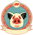 Pig head label vector
