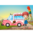 A boy with icecream and the pink car vector