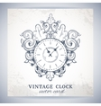 Old vintage wall clock postcard vector