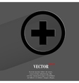 Plus flat modern web button with long shadow and vector