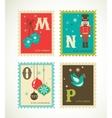 Christmas retro alphabet with cute icons vector