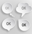 Ok white flat buttons on gray background vector