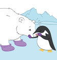 Penguin and polar bear friends vector