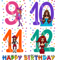 Birthday cartoon design for girl vector