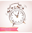 Old retro alarm clock card vector