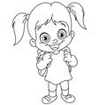 Outlined schoolgirl vector