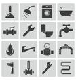Black plumbing icons set vector