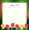Beautiful square greating card with spring flowers vector