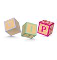 Word vip written with alphabet blocks vector