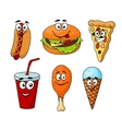 Colorful cartoon set of fast food icons vector