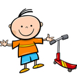 Cartoon little boy with scooter vector