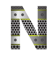 Perforated metal letter n vector