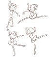 Plain sketches of the ballet dancers vector