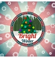 Badge with cute christmas new year tree pine vector