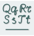 Letters q r s t - handwritten alphabet of rope vector