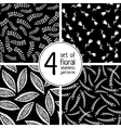 Set of 4 black floral seamless patterns vector