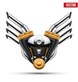 Motorcycle engine with metal wings vector