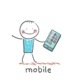 Man with mobile vector