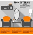 Living room interior in flat style vector