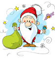Santa claus holding a bag and gift in hands vector