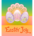 Three pastel decorated floral eggs on a lacy vector