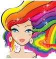Rainbow hair vector