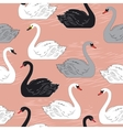 Swans seamless pattern template for design vector