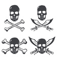 Pirate flag design elements skull with bones and vector
