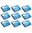 Collection of icons - set of blue folder icons iso vector