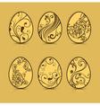 Easter eggs brown patterns 10 v vector