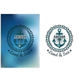 Naval heraldic badge with anchor and round chain vector