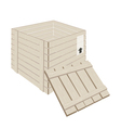 Open wooden cargo box on white background vector