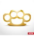 Gold metal brass knuckles vector