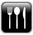 Fork spoon and knife button vector