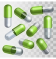 Set of green and transparent medical capsules in vector
