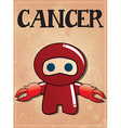 Zodiac sign cancer with cute black ninja character vector