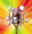 Hand drawn microphone and stars vector