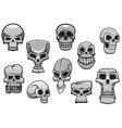 Cartoon human scary halloween skulls vector