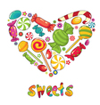 Sweets heart shape vector