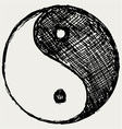 Ying yang sketch symbol vector