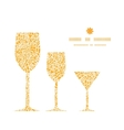 Golden lace roses three wine glasses silhouettes vector
