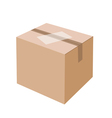 White label on blank brown cardboard box vector